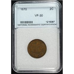 1870 2 CENT SCARCE DATE NNC GRADED VF-XF