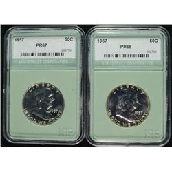 2- 1957 FRANKLIN HALF DOLLAR NTC GRADED SUPERB PROOFS!