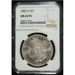 1885-O MORGAN DOLLAR DOLLAR NGC MS 63 PL WHITE!