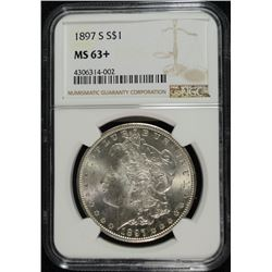 1897-S MORGAN DOLLAR NGC MS63+ WHITE