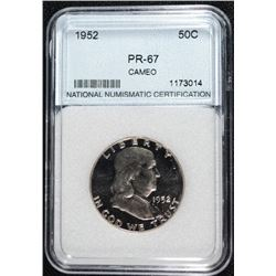1952 FRANKLIN HALF DOLLAR NNC GRADED SUPERB PROOF CAMEO