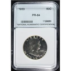 1953 FRANKLIN HALF DOLLAR NNC GRADED GEM PROOF