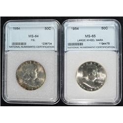 2- 1954 FRANKLIN HALF DOLLAR NNC GRADED GEM BU & GEM BU FBL