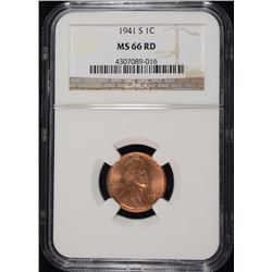 1941-S LINCOLN CENT, NGC MS-66 RED
