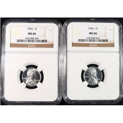 ( 2 ) 1943 LINCOLN STEEL CENTS, NGC MS-66