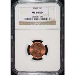 1948 LINCOLN CENT, NGC MS-66 RED!