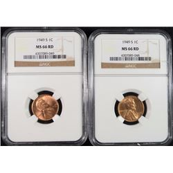 ( 2 ) 1949-S LINCOLN CENTS, NGC MS-66 RED!