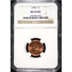 1950 LINCOLN CENT, NGC MS-66 RED