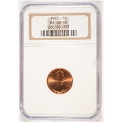 1993 LINCOLN CENT NGC MS-68 RD