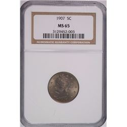 "1907 LIBERTY ""V"" NICKEL, NGC MS-65"