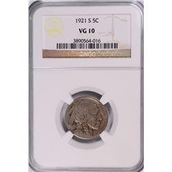 1921-S BUFFALO NICKEL NGC VG 10