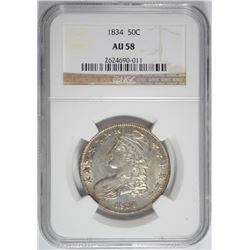 1834 BUST HALF DOLLAR NGC AU-58 GREAT ORIGINAL COIN WITH LOTS OF MINT LUSTER