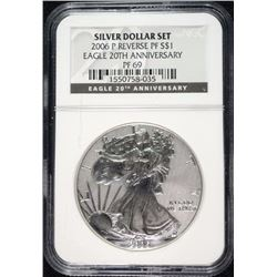 2006-P AMERICAN SILVER EAGLE REVERSE PROOF FROM 20TH ANNIVERSARY SET, NGC PF-69