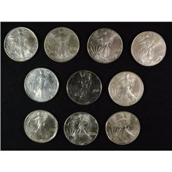10 - AMERICAN SILVER EAGLES - MOSTLY UNC - Some Show Slight Damage / Wear