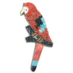 Zuni Inlay Parrot Pin