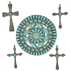 Navajo Pin & 4 Crosses - Larry Moses Begay