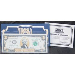 2009 USA Federal Reserve $2 Bank Note - 22Kt Gold Edition