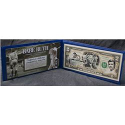 2009 USA Federal Reserve $2 Bank Note - Babe Ruth Edition