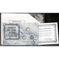 USA - Dimes Of The 20th Century - 2 Silver 10-Cents, 1 Copper-Nickel
