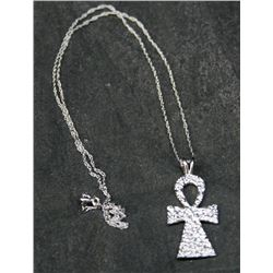 "Sterling Silver Angel Figure On 18"" Rope Chain"