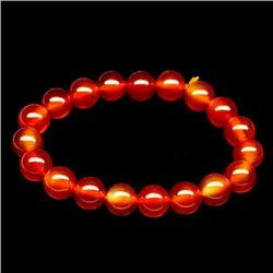 139.28 CT RED ORANGE INDIAN CARNELIAN BRACELET