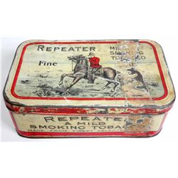 ANTIQUE REPEATER SMOKING TOBACCO ADVERTISING TIN