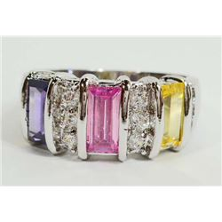 STERLING SILVER AMETHYST, CITRINE, PINK TOPAZ LADIES RING - SIZE 7