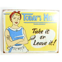 TODAYS MENU FUNNY METAL SIGN