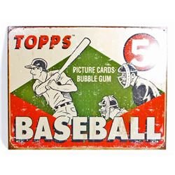 TOPPS BASEBALL BUBBLE GUM ADVERTISING METAL SIGN
