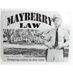 MAYBERRY LAW DON KNOTTS METAL SIGN