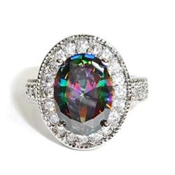 STERLING SILVER RAINBOW TOPAZ LADIES RING - SIZE 8