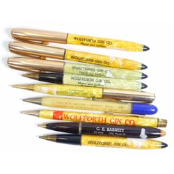LOT OF 9 VINTAGE ADVERTISING MECHANICAL PENCILS & PENS
