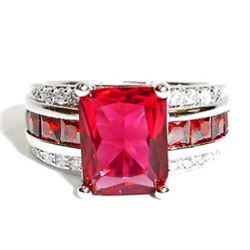 STERLING SILVER RUBY LADIES RING - SIZE 7