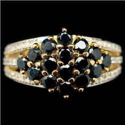 14K GOLD OVER STERLING SILVER BLUE SAPPHIRE RING - SIZE 9