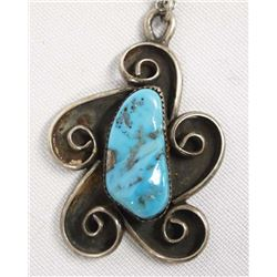 1950 Navajo Sterling Turquoise Pendant Necklace