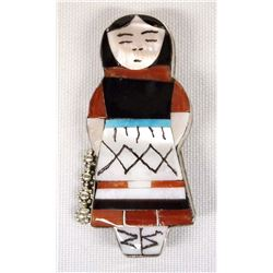 Zuni Sterling Silver Maiden Pin Pendant by Waseta