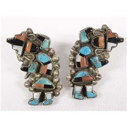 Antique Zuni Screwback Silver Rainbow Man Earrings