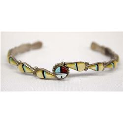 Zuni Sterling Inlay Sun God Bracelet by Dickson