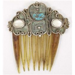 Antique Navajo Sterling Turquoise Hair Comb