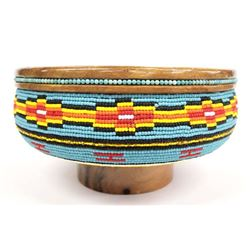 Hand Beaded Wood Pedestal Bowl by Kills Thunder