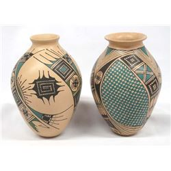Pair of Mexican Mata Ortiz Polychrome Jars, Signed