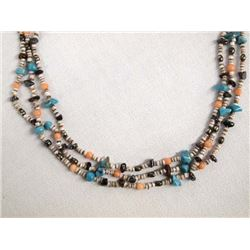 Santo Domingo Heishi Turquoise Coral Necklace