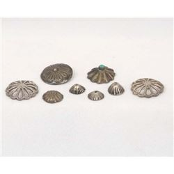 Antique Navajo Sterling Silver Concho Buttons