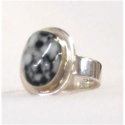 Mexican Silver & Snowflake Obsidian Ring, Size 8