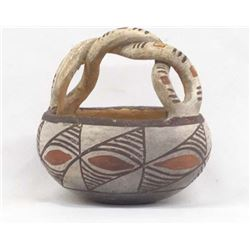Vintage Cochiti Polychrome Pottery Basket Jar