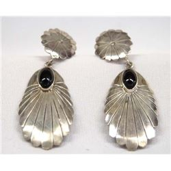 Navajo Sterling Silver Onyx Earrings