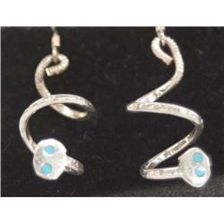 Zuni Silver Turquoise Snake Earrings by Calavaza
