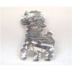 Navajo Sterling Silver Sheep Pin by Cecil Perry