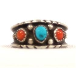 1970 Navajo Silver Coral & Turquoise Ring, Sz 9.5