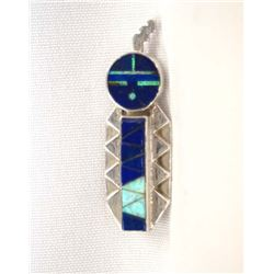 Navajo Sterling Opal Lapis Inlay Pin by D. Yazzie